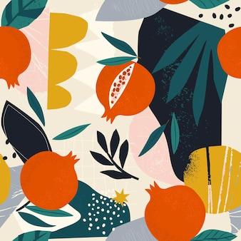 Collage eigentijds bloemen naadloos patroon