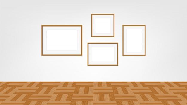 Collage frames foto op muur kamer, verzameling van portret frame