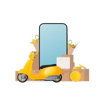 Collage op het thema van levering. gele scooter met voedselrek, telefoon, gouden munten, kartonnen dozen, papieren zak met boodschappen. het concept van online bestellen en bezorgen van eten en verzending.