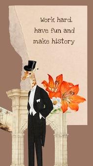 Collage sjabloon vintage esthetische vector, vintage dierlijke collage mixed media kunst