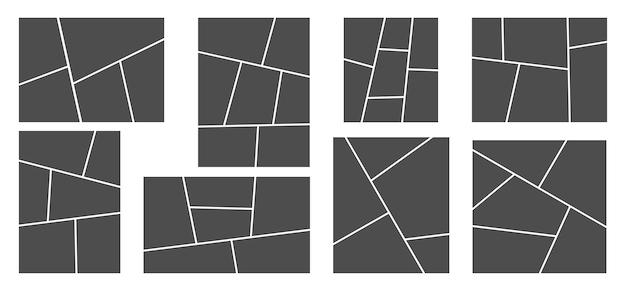 Collage van afbeeldingen of foto's. rasterlay-out van strippagina's, abstracte fotolijsten en sjabloon voor digitale fotomuren.