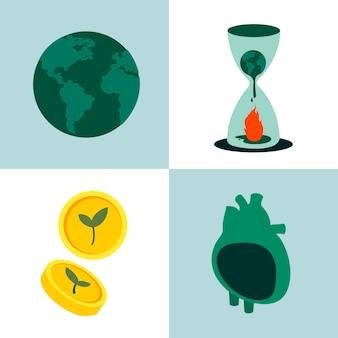 Collage van de illustratie van het milieubehoud concept