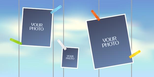 Collage van fotolijsten of plakboek voor fotoalbum.