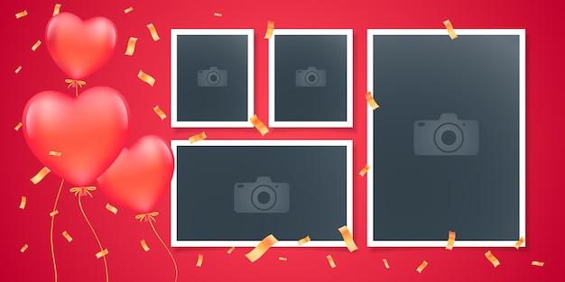 Collage van fotolijsten. romantische ontwerpsjabloon