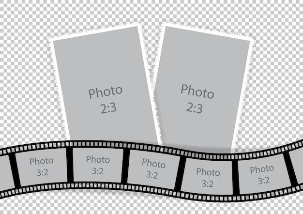 Collage van fotolijsten van ideeën voor filmsjablonen