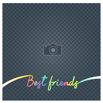 Collage van fotolijstjes en teken beste vrienden vectorillustratie, achtergrond. blanco fotolijst voor het invoegen van een foto