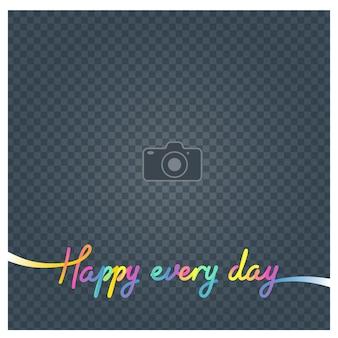 Collage van fotolijstjes en teken gelukkig elke dag vectorillustratie, achtergrond. blanco fotolijst voor het invoegen van een foto