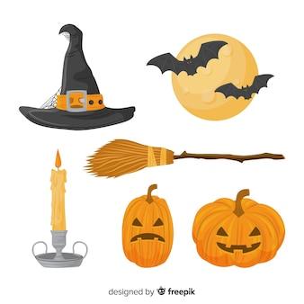 Collage van verschillende halloween-elementen op witte achtergrond