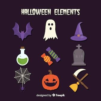 Collage van verschillende platte halloween-elementen