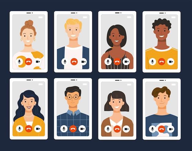 Collage van videochatten op internet via mobiele telefoon