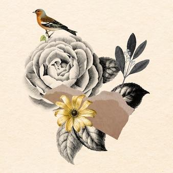 Collage vintage bloem illustratie vector, mixed media kunst