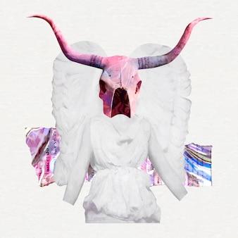 Collage vintage vrouwelijke engel vector, antieke mixed media kunst