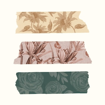 Collage washi tape set vector, afdrukbare diy bullet journal sticker