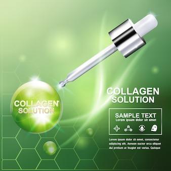 Collageen en serum concept cosmetica voor de huid.
