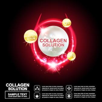 Collageen of serum achtergrond concept laser reparatie huid voor cosmetische producten Premium Vector