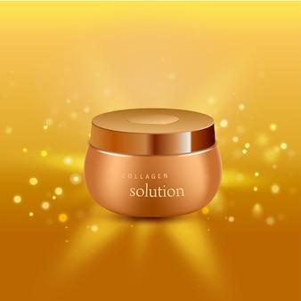 Collageen oplossing intensieve crème buis gouden achtergrond advertentie poster voor farmaceutische en cosmetische producten realistische afbeelding
