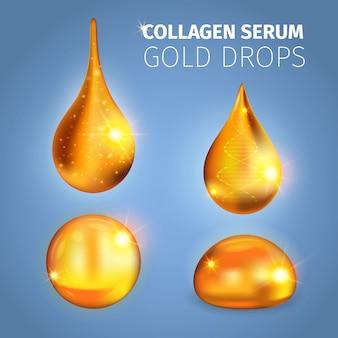 Collageen serum gouden druppels met glanzende oppervlaktespikkels van lichte dna-helix vectorillustratie