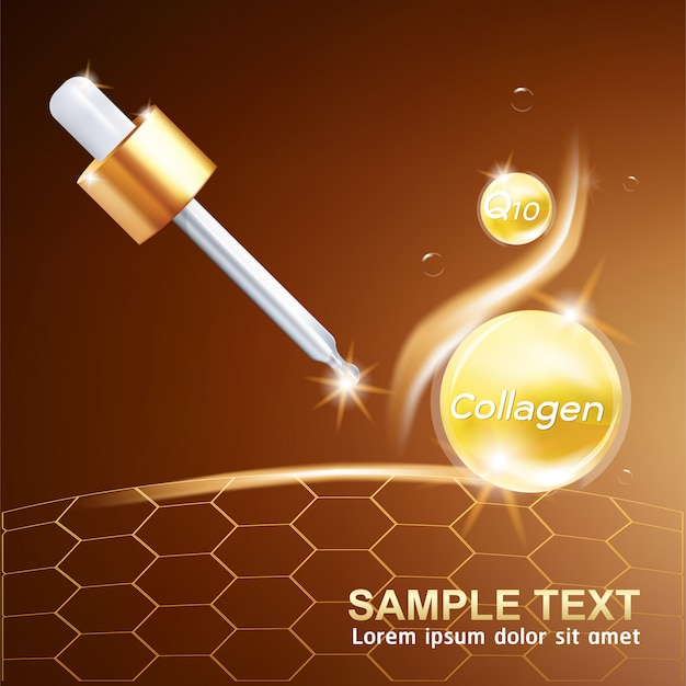 Collageen serum of vitamin power ball achtergrond concept skin care cosmetic.