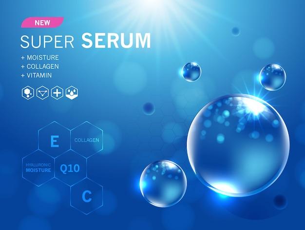 Collageenserum en vitamine hyaluronzuur huidoplossingen met cosmetische reclameachtergrond