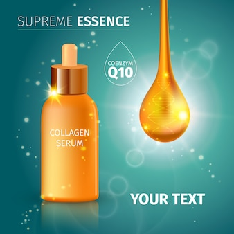 Collagen serum tubes met witte titel supreme essence lights en glitter
