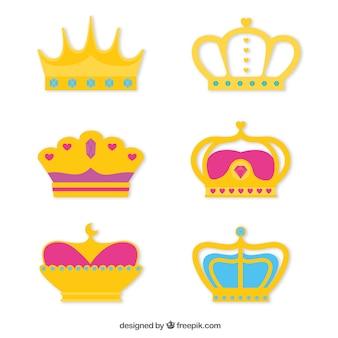 Collecctie van kleurrijke kronen