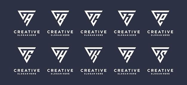 Collectie abstract driehoek letter g combinatie logo ontwerp.