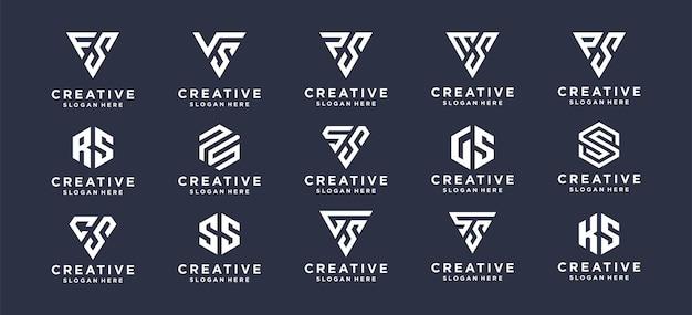 Collectie abstract eerste logo-ontwerp voor persoonlijk merk, bedrijf, bedrijf.