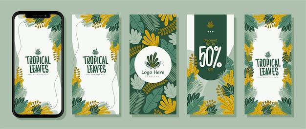 Collectie achtergrond instagram verhalen sosial media zomer tropisch blad platte vector