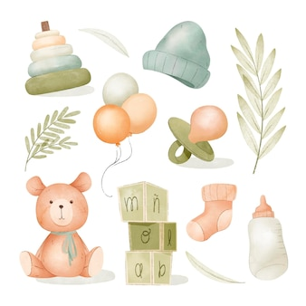 Collectie aquarel babyspullen
