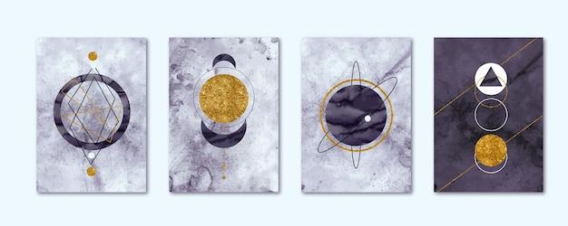 Collectie aquarelomslagen met gouden elementen