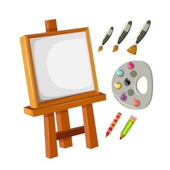 Collectie artist's canvas ingesteld
