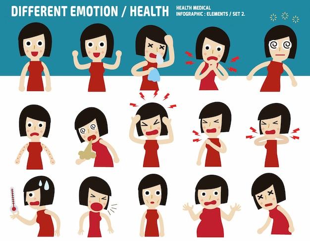Collectie aziatische vrouw. ziek met verschillende ziekten. medisch concept infographic vectorillustratie