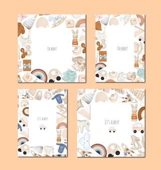 Collectie baby shower kaarten, ontwerp voor jongens en meisjes, frame van houten speelgoed, verjaardagsuitnodiging