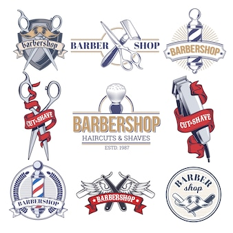 Collectie badges, logo's met kappershulpmiddelen.