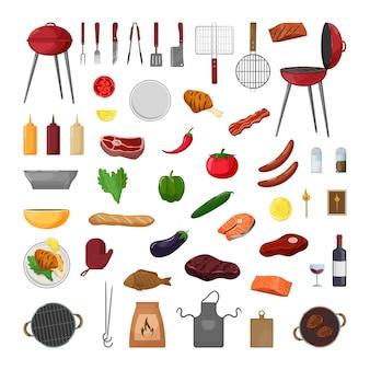 Collectie barbecue-objecten. picknickuitrusting en eten.