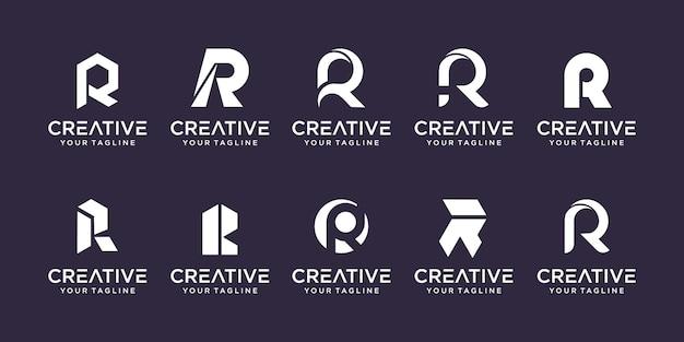 Collectie beginletter r rr logo sjabloon iconen voor zaken van mode sport automotive