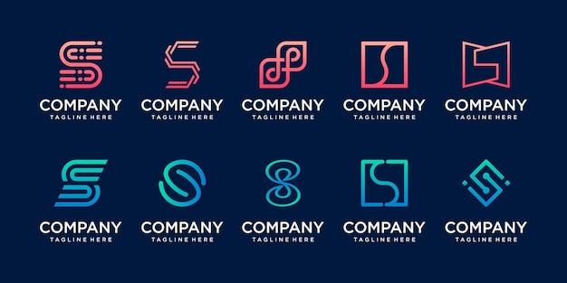 Collectie beginletter s ss logo sjabloon iconen voor zaken van mode digitale technologie