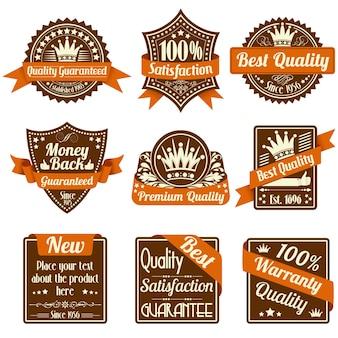 Collectie beste kwaliteits- en garantielabels, vintage design, vectorillustratie