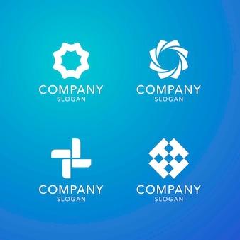 Collectie blauwe bedrijfsslogan