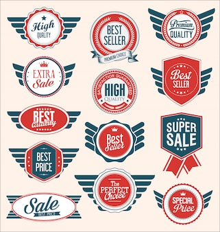 Collectie blauwe en rode schilden badges