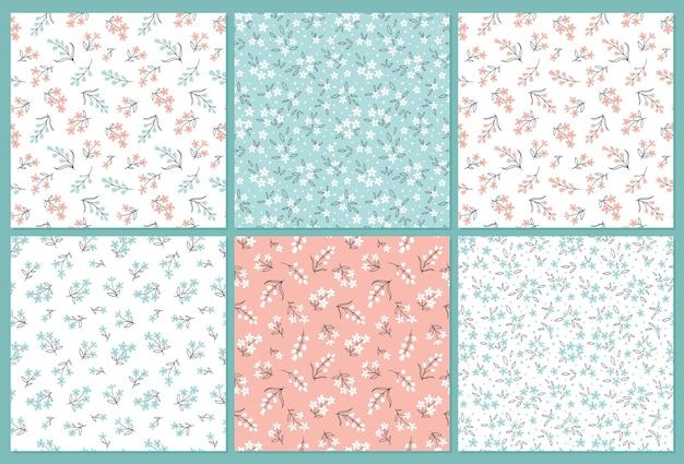 Collectie bloemen naadloze patronen met schattige kleine bloemen