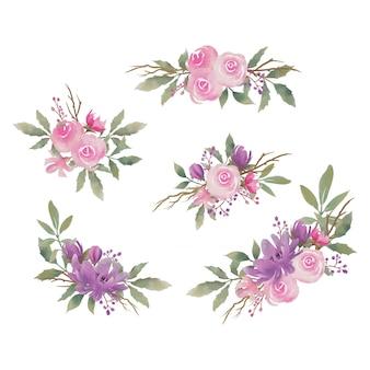 Collectie bloemenboeket prachtige aquarel