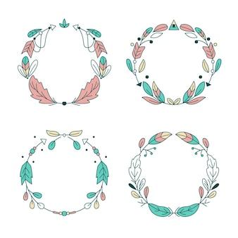 Collectie boho-frames in plat ontwerp