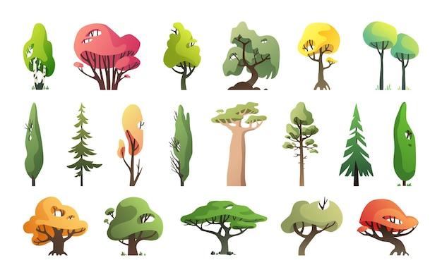 Collectie bomen in een moderne stijl