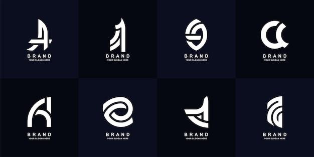 Collectie brief a of aa monogram logo sjabloonontwerp