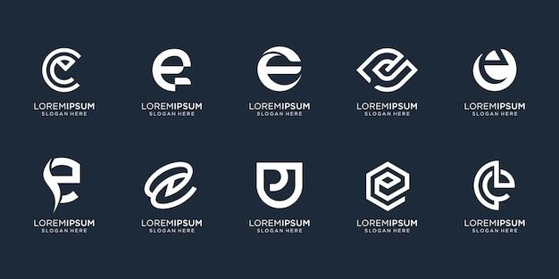 Collectie brief e logo sjabloon. monogram ontwerp inspiratie voor bedrijf, corporate, identiteit, technologie. premium vector