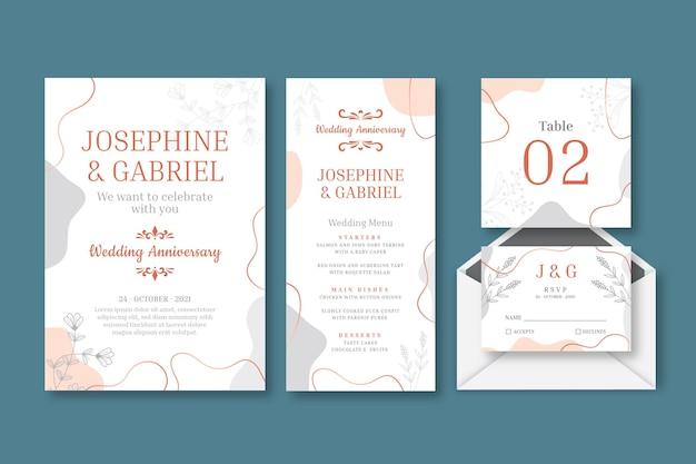 Collectie briefpapier voor huwelijksverjaardag