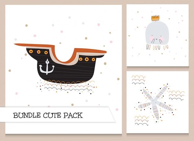 Collectie cute cartoon plat oceaan element patroon set