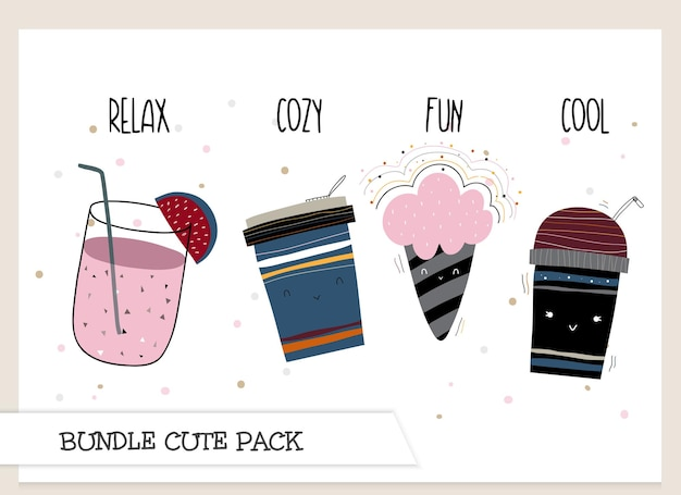 Collectie cute cartoon platte koffiekopje patroon set
