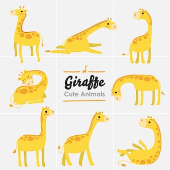 Collectie cute giraffe different pose isolate set.